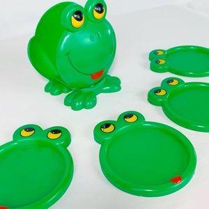 Vintage 1970s JSNY Plastic Frog Face Coaster Set